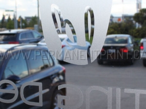 Window decals with frosted effect